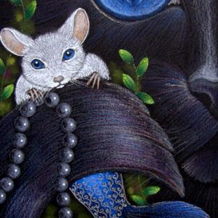 Art: BLACK CAT MERCAT - MERMAID MOUSE WITH PEARLS by Artist Cyra R. Cancel