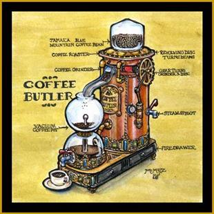 Art: Steampunk Coffee Maker by Artist Madeline  Carol Matz