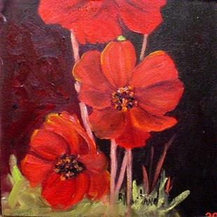 Art: Red Cosmos  by Artist Barbara Haviland