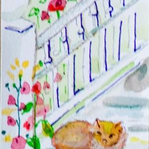 Art: Hollyhocks and Cat Aceo-sold by Artist Delilah Smith