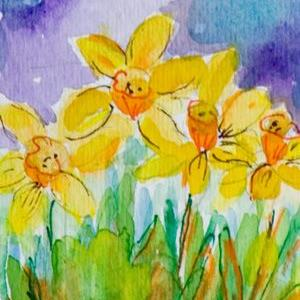 Art: daffodils Aceo by Artist Delilah Smith