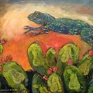 Art: Flying over Prickly Pear by Artist Catherine Darling Hostetter