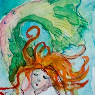 Art: Mermaid 4 Aceo by Artist Delilah Smith