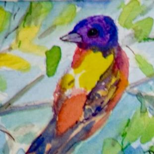 Art: Painted Bushing ACEO-sold by Artist Delilah Smith