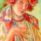 Art: After Mucha's Girl In Moravian Costume by Artist Erika Nelson