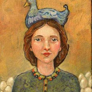 Art: Blue Cluck Hat by Artist Catherine Darling Hostetter