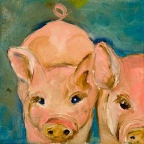 Art: Pigs- SOLD by Artist Delilah Smith
