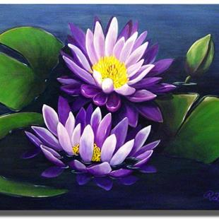 Art: Purple Tropical Water Lilies by Artist Rita C. Ford