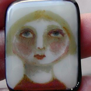 Art: Hannah Fused Glass Painted Pendant by Artist Dianne McGhee