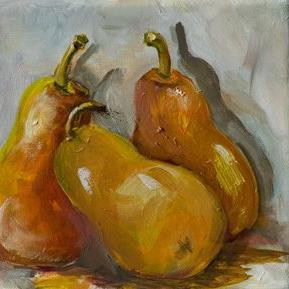 Art: Three Pears-sold by Artist Delilah Smith