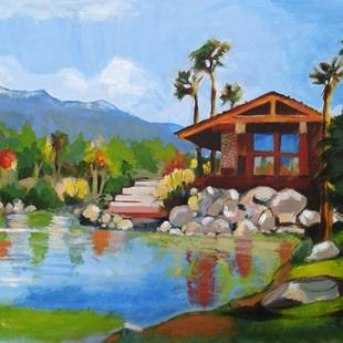 Art: Lakeside Early Fall by Artist Muriel Areno