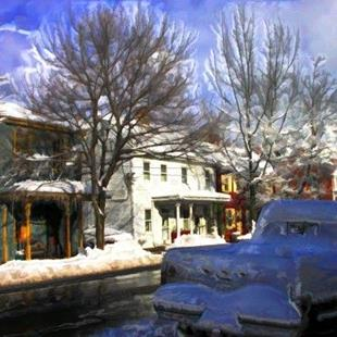 Art: Wintery View On Main Street by Artist Anthony Allegro