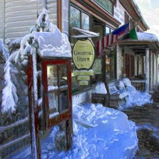 Art: Wintery Store Front by Artist Anthony Allegro