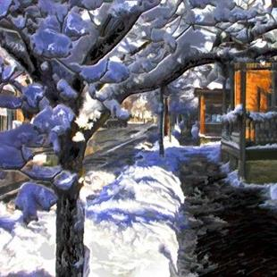 Art: Wintery Sidewalk, View on Main Street by Artist Anthony Allegro