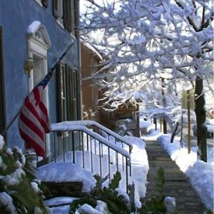 Art: Wintery Sidewalk View with Red, White, and Blue by Artist Anthony Allegro