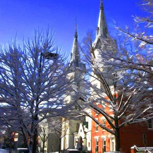Art: Winter Spires with Snowy Tree Top Branches by Artist Anthony Allegro