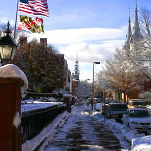 Art: Winter View on Church Street by Artist Anthony Allegro