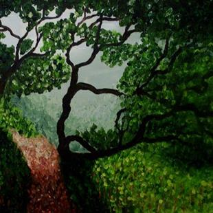 Art: A view through the trees (sold) by Artist Mats Eriksson