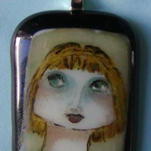 Art: Hand Painted Glass Pendant by Artist Dianne McGhee