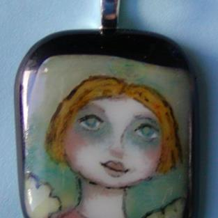 Art: Hand Painted Glass Angel Pendant by Artist Dianne McGhee