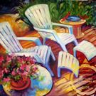Art: BACK PORCH FLORAL by Artist Marcia Baldwin