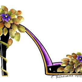 Art: African Violet stiletto by Artist Elena Feliciano