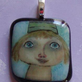 Art: Girl in hat hand painted pendant by Artist Dianne McGhee