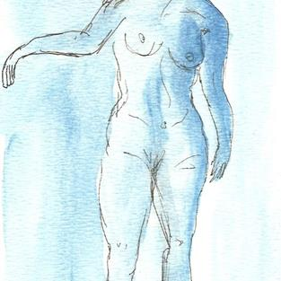 Art: Blue Nude # 6 original OSWOA painting by Artist Nancy Denommee