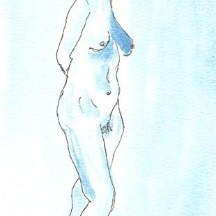 Art: Blue Nude # 7 original OSWOA painting by Artist Nancy Denommee