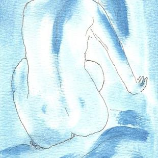 Art: Blue Nude # 8 original OSWOA painting by Artist Nancy Denommee