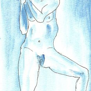 Art: Blue Nude # 10 original OSWOA painting by Artist Nancy Denommee