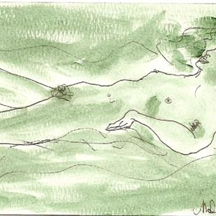 Art: Green Nude # 2 original OSWOA painting by Artist Nancy Denommee