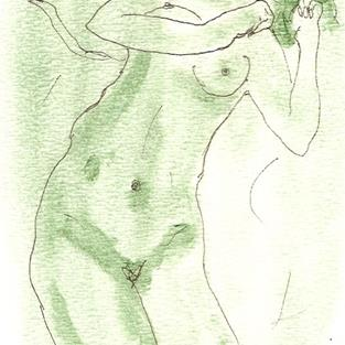 Art: Green Nude # 6 original OSWOA painting by Artist Nancy Denommee