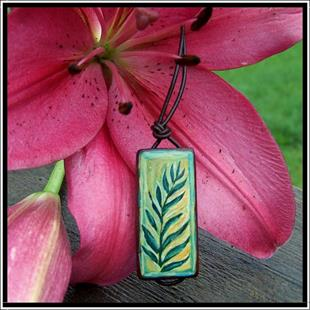 Art: Fern Bamboo Pendant Necklace by Artist Dana Marie