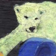Art: POLAR BEAR, playing with a vessel he won on Ebay! by Artist Gabriele Maurus