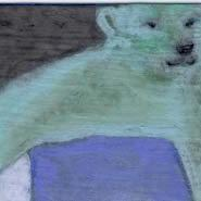 Art: POLAR BEAR, PUSHING SYSIPHYSICALLY A HUGE ICE CUBE UP THE HILL by Artist Gabriele Maurus