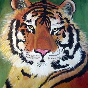 Art: Large Tiger Portrait by Artist Dia Spriggs