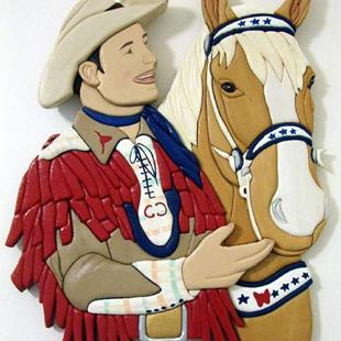 Art: ROY ROGERS AND TRIGGER  ORIGINAL PAINTED INTARSIA ART by Artist Gina Stern