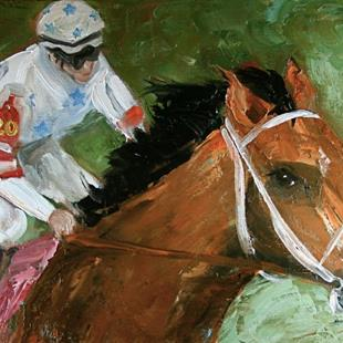 Art: Big Brown Kentucky Derby Winner by Artist Deborah Sprague
