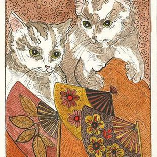 Art: HOT CATS OLD FASHIONED FANS by Artist Theodora Demetriades
