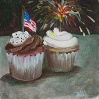 Art: Fourth of July Cupcakes by Artist Delilah Smith