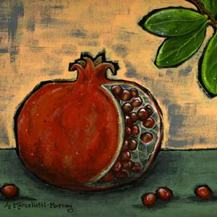 Art: Pomegranate Fruit and Leaves -SOLD- by Artist Ann Murray