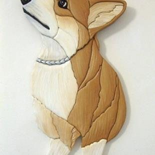 Art: JUST WAITING CORGI ORIGINAL INTARSIA  PAINTED ART by Artist Gina Stern