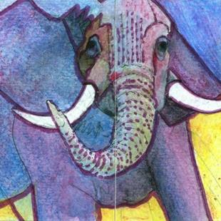 Art: The Pink Elephant in My Room - Sold by Artist Judith A Brody