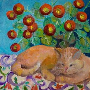 Art: Cat and Flowers-sold by Artist Delilah Smith