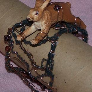 Art: Rabbit Run - original wire cuff by Artist Nancy Denommee