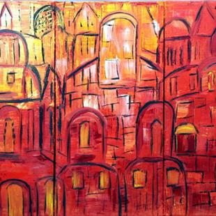 Art: THE OLD CITY-JERUSALEM IN THE SUNSET by Artist LUIZA VIZOLI