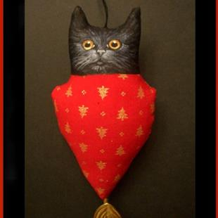 Art: TINY BLACK CAT Ornament DOLL Folk Art HOLIDAY by Artist Cyra R. Cancel