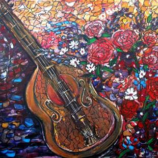 Art: MUSIC, FLOWERS and my GHITAR by Artist LUIZA VIZOLI