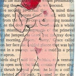Art: Virginia Woolf Nude #1 original mixed media ACEO painting by Artist Nancy Denommee